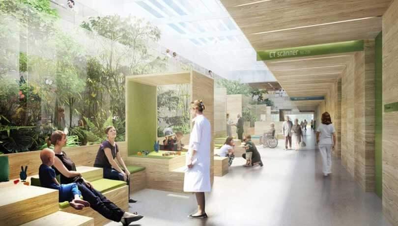Visualisering af helende arkitektur på et hospital